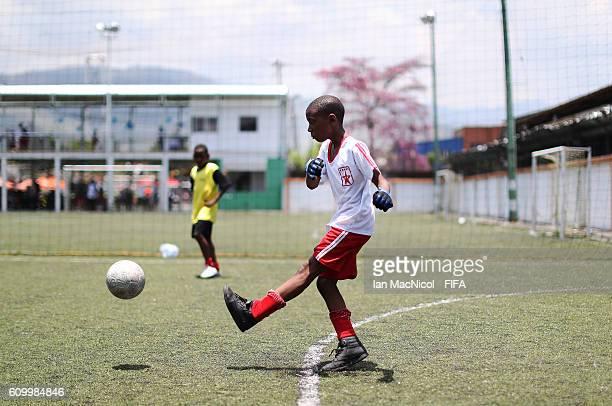 Child is seen taking part in the Festival Futbol por La Esperanza on September 23 2016 in Cali Colombia