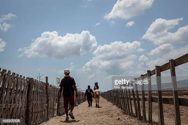 A child jockey sits on horseback as they walk to the starting box for the race during the traditional horse races as part of Moyo festival on...