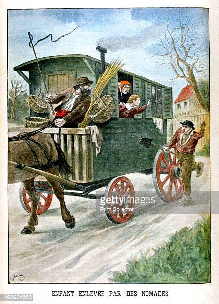 Child kidnapped by gypsies 1902 Illustration published in Le Petit Journal 2nd Febuary 1902