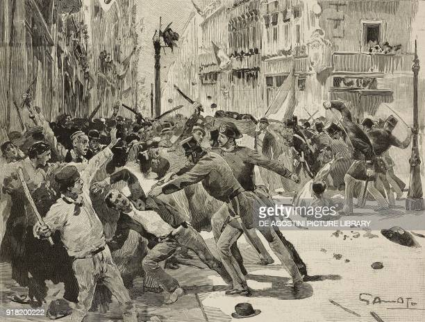A child killed during the coachmen strike of August 24 carried into procession clashes with the gendarmes Naples Italy engraving after a drawing by...