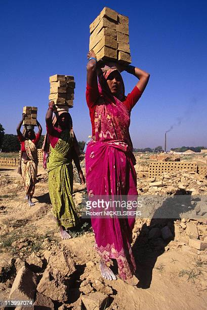 Child Labor In India In 1996-Young Tribal Woman at Brick Making Factory.