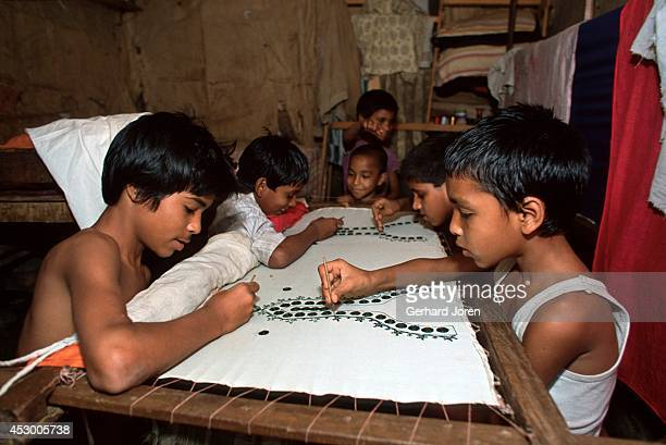 Child laborers at a Pakistani refugee camp in Dhaka