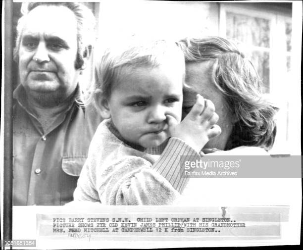 Child Left Orphan At Singleton 2yr old Kevin James Phillip with his grandmother Mrs Audrey Mitchell at Camperwell 12K from Singleton May 1 1979