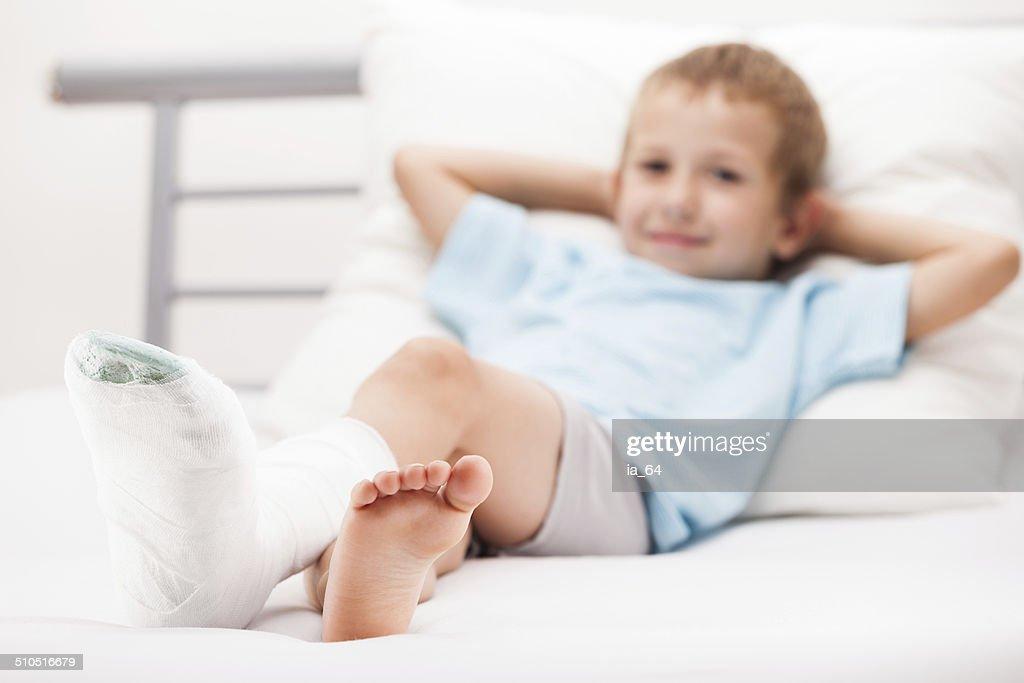 Child Leg Heel Fracture Or Broken Foot Bone Plaster Bandage