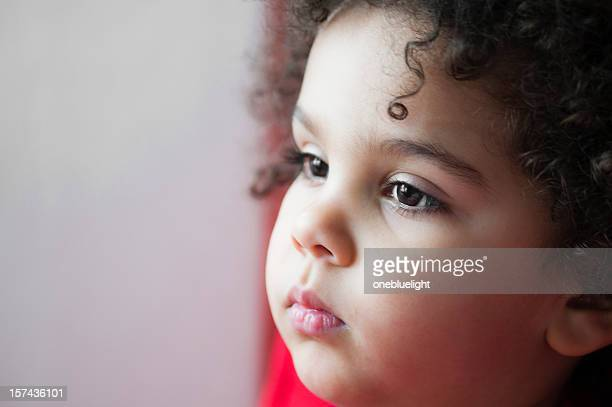 child (2-3) looking pensive - bottomless girls stock photos and pictures