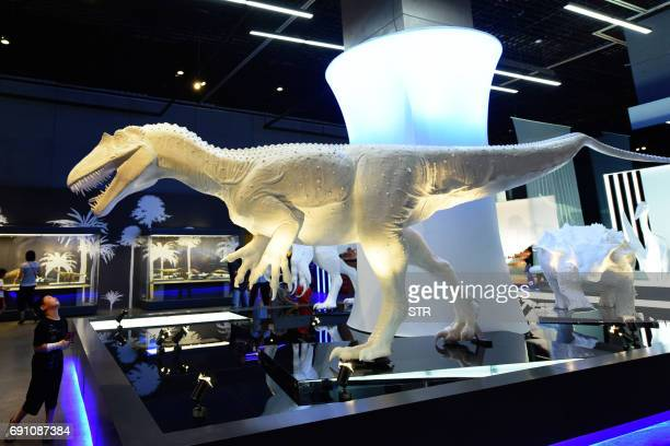 A child looks at a model of a dinosaur at an exhibition at the Zhejiang Natural Museum in Hangzhou in China's eastern Zhejiang province on...