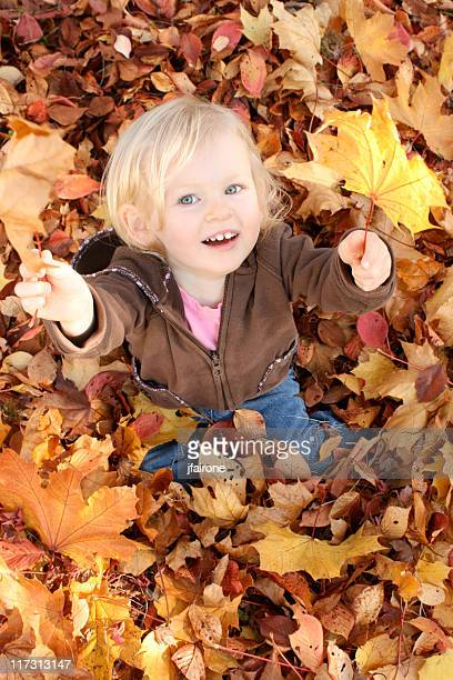 child looks up surrounded by fall leaves - girl mound stock pictures, royalty-free photos & images