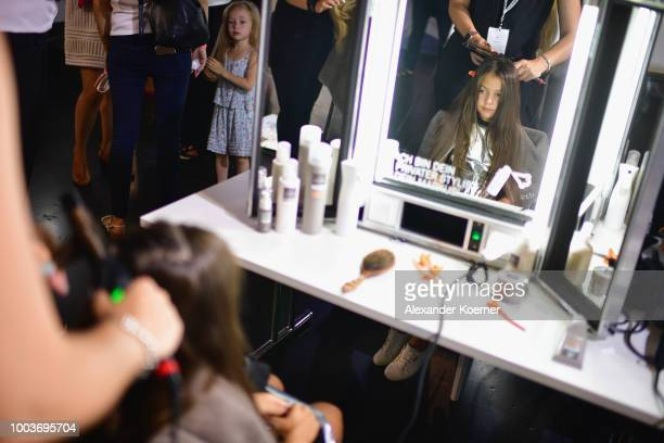 Models are seen backstage ahead the Kids Fashion show during Platform Fashion July 2018 at Areal Boehler on July 22 2018 in Duesseldorf Germany