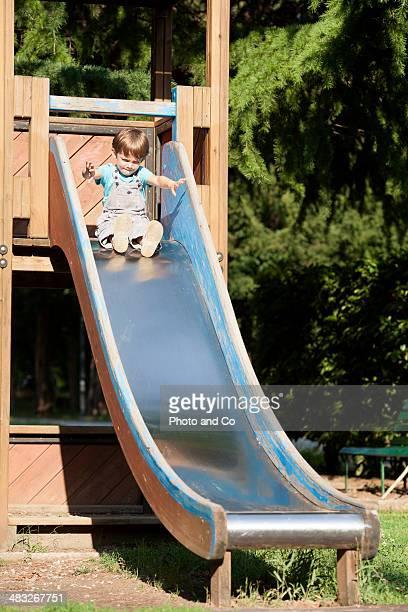 child on a toboggan
