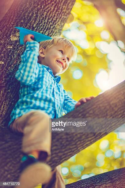 Kind auf Baum im Herbst