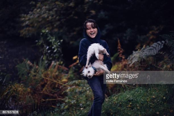 Child on an Autumn Dog Walk