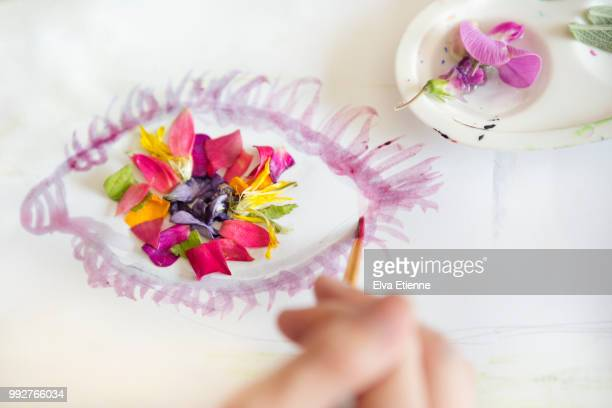 child painting an eye with natural dye from colourful flower petals and leaves - unusual angle stock pictures, royalty-free photos & images