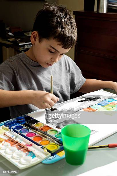 child painting - mlenny photography stock pictures, royalty-free photos & images