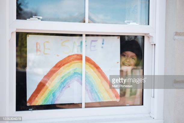 child painting rainbow - hope stock pictures, royalty-free photos & images