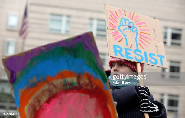 A child participates in a demonstration for women's rights on January 21 2018 in Berlin Germany The 2018 Women's March is a planned rally and...