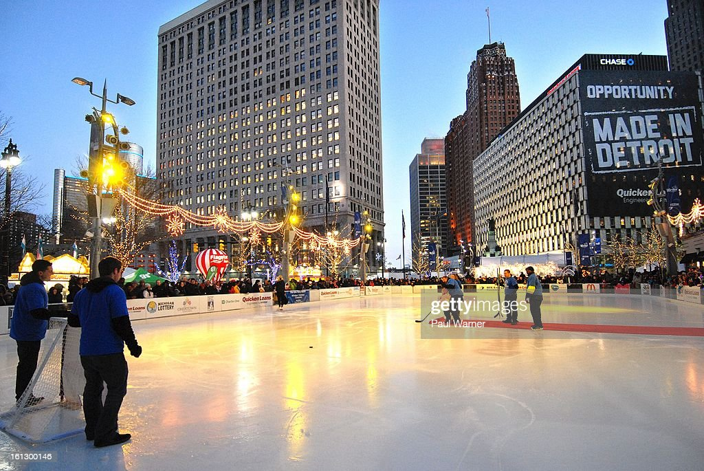 A child participates in a slap shot contest at Motown Winter Blast at Campus Martius Park on February 9, 2013 in Detroit, Michigan.