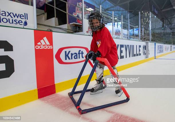 A child participates in the free skate during Kraft Hockeyville Canada on September 16 2018 at the Lucan Community Memorial Centre in Lucan Ontario...