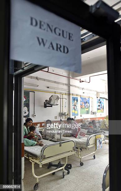 Child patients in a dengue ward with their family members at Chacha Nehru Children Hospital Geeta Colony on September 6 2016 in New Delhi India Delhi...