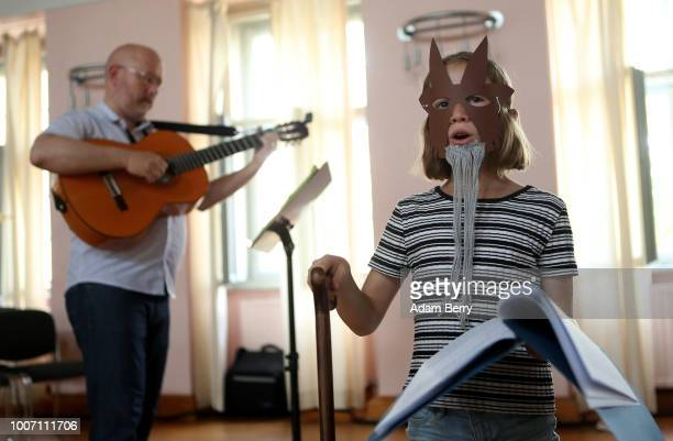 Child performs during a dress rehearsal for a play in Yiddish during Yiddish Summer Weimar on July 28, 2018 in Weimar, Germany. The annual four-week...