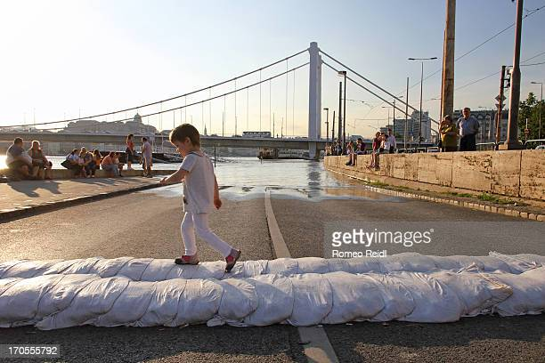 Child playing with the sandbags in the sunset near to the edge of the water and the Elisabeth bridge in Budapest at the record flooding of the Danube...