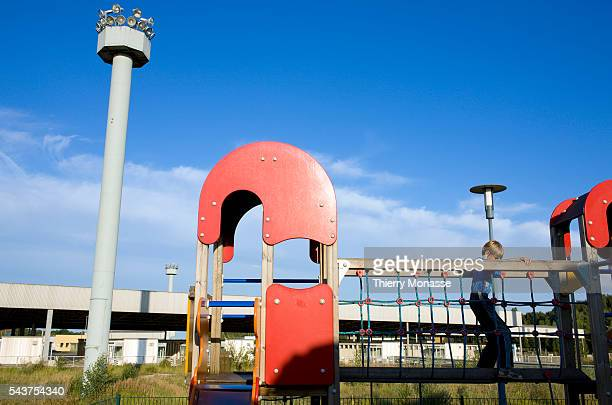 A child plays on HelmstedtMarienborn border checkpoint The border crossing of HelmstedtMarienborn in East Germany called Grenzbergangsstelle...