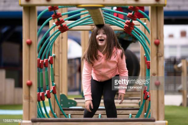 Child plays on outdoor equipment at Roath Park Primary School on June 29, 2020 in Cardiff, Wales. Schoolchildren of all years will be able to return...