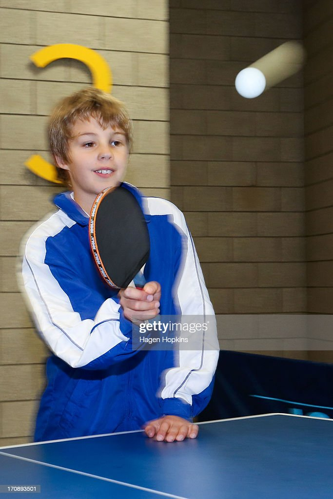 A child plays table tennis during the launch of the New Zealand Olympic Ambassador Programme at ASB Sports Centre on June 20, 2013 in Wellington, New Zealand.