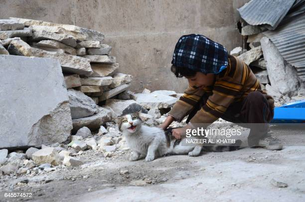 TOPSHOT A child plays with a cat in the northwestern Syrian border town of alBab on February 25 2017 after Turkishbacked rebels announced the...