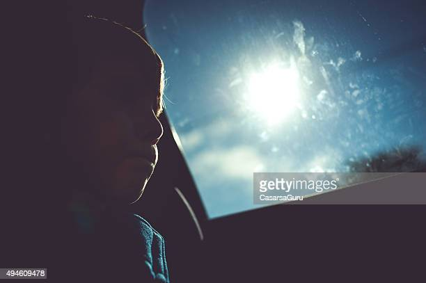 Child Portrait Inside of a Car