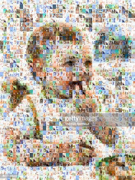 child portrait made out of family imagery - photo mosaic stock pictures, royalty-free photos & images