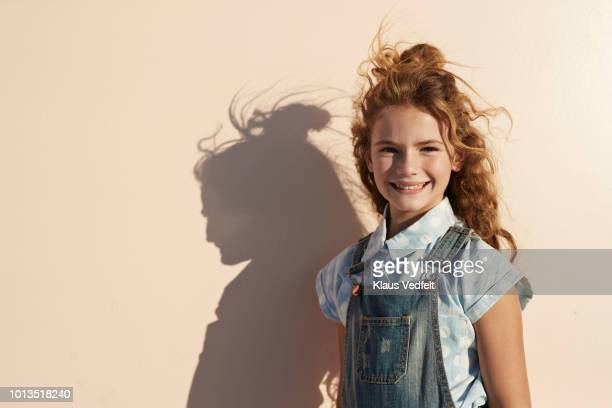 child portrait on studio background - bambine femmine foto e immagini stock