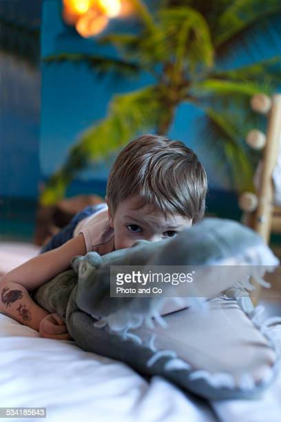 child portrait with  crocodile stuffed
