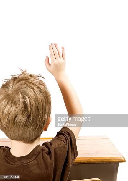 bambini alzando la mano per porre una domanda - dorso mano foto e immagini stock
