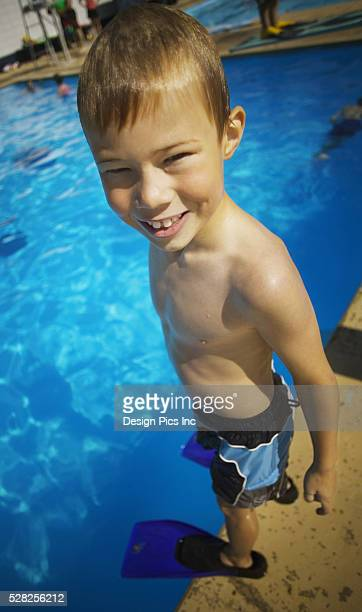 A Child Ready to Go Swimming