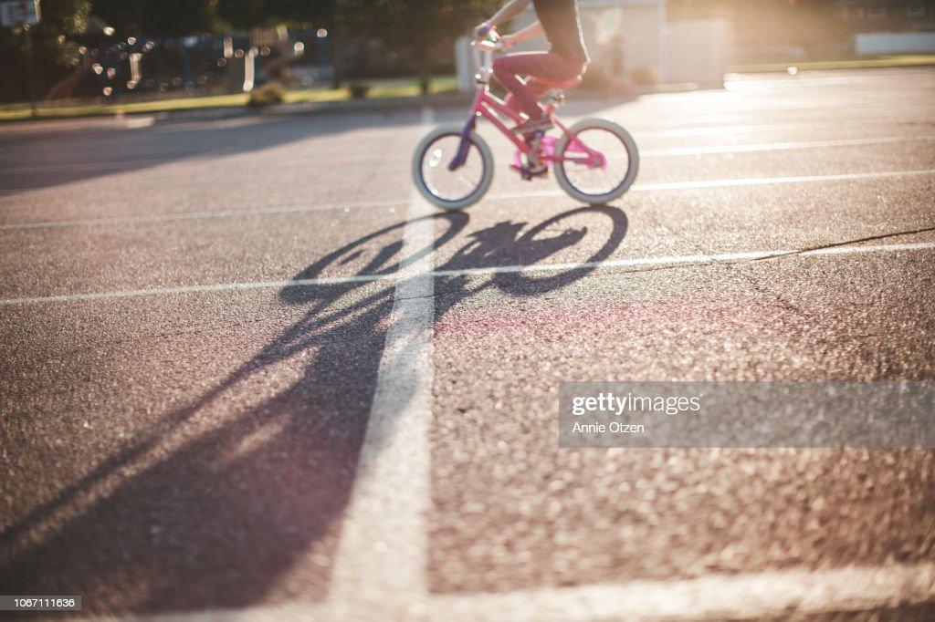 Child Riding Bike : Stock Photo