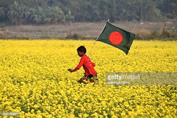 child running with flag in field - bangladesh nature stock photos and pictures