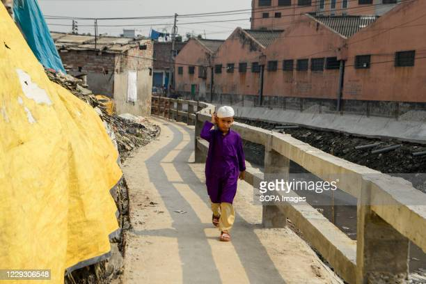 Child seen at the tannery factory polluted area in Hazaribagh. Most people in this area have become victims of pollution due to the presence of toxic...