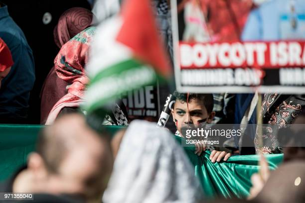 A child seen in the propalestine demonstration Hundreds of antiIsrael protesters marched through the streets on the annual Al Quds Day Started by the...