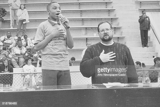 Child singing during the Special Olympics Maryland 1995