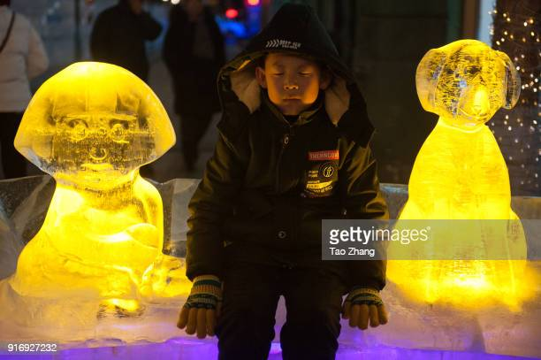 A child sit at dog of Ice sculpture was decorated with coloured lights and decoration set up for the upcoming Chinese Lunar New Year at central...