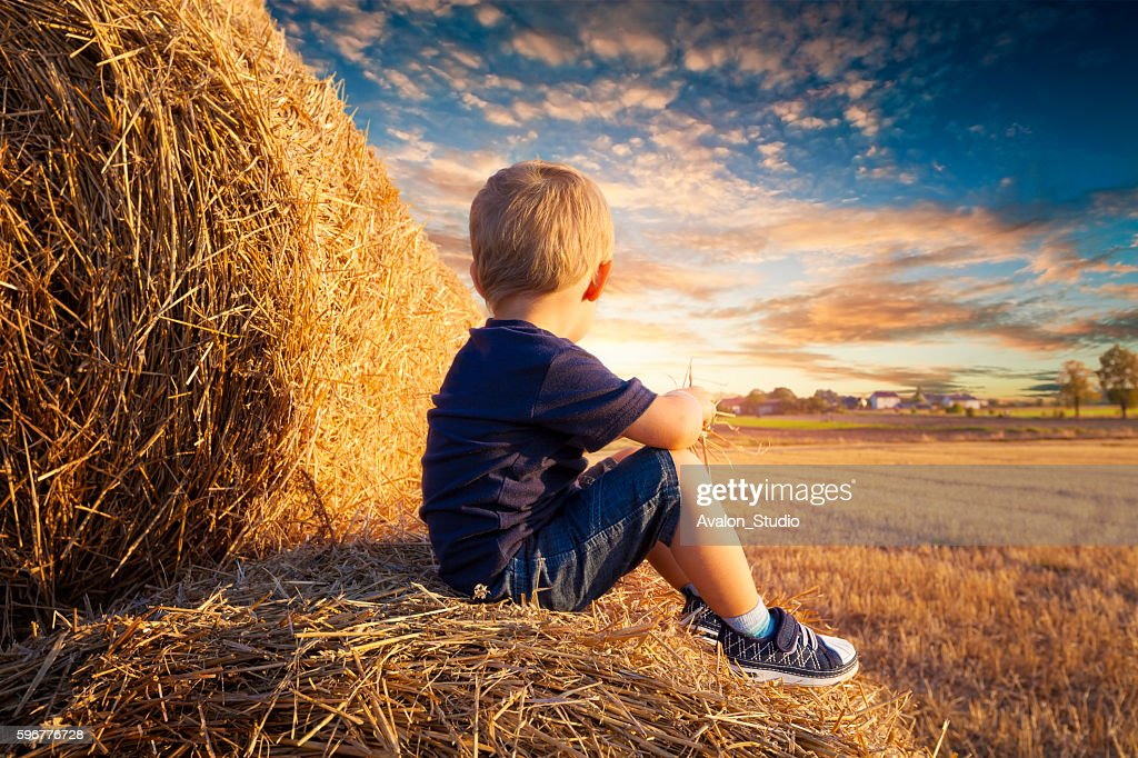 Child sitting on bales of straw : Stock-Foto