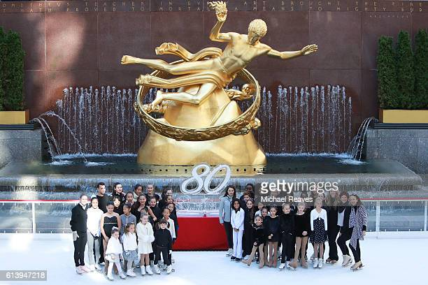 Child Skaters from Ice Theatre of New York and Figure Skating in Harlem pose for a group photo at The Rink at Rockefeller Center on October 11 2016...