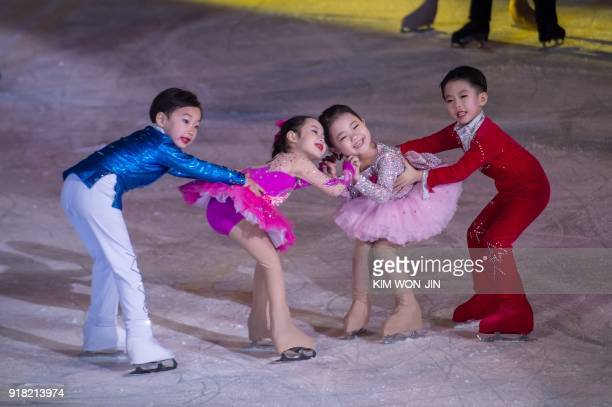 TOPSHOT Child skaters perform during the opening ceremony of a figure skating festival marking the anniversary of the birth of late North Korean...