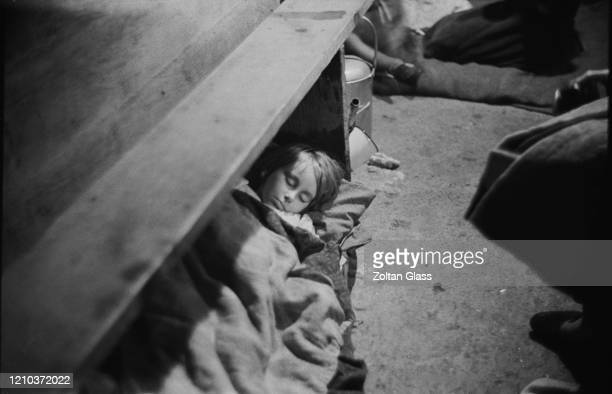 A child sleeping in an air raid shelter during the Blitz London October 1940 Original Publication Picture Post 308 Shelter Life pub 26th October 1940