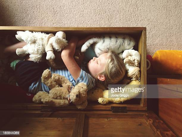 Child sleeping in wooden box with soft toys