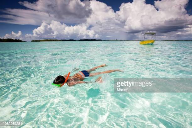 Child Snorkeling in Lagoon