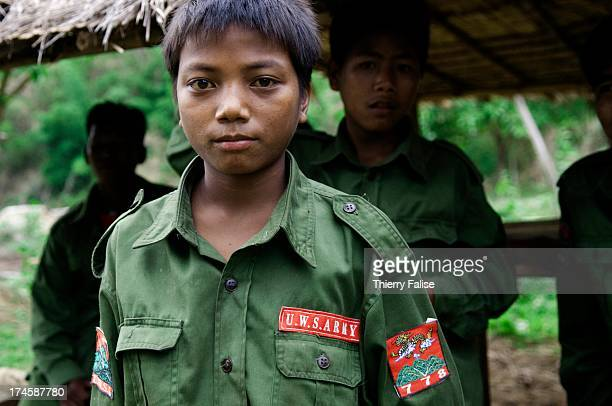 A child soldier from the United Wa State Army 171 Division stands in a village in the socalled Southern Wa State The 171 Division is run by the...