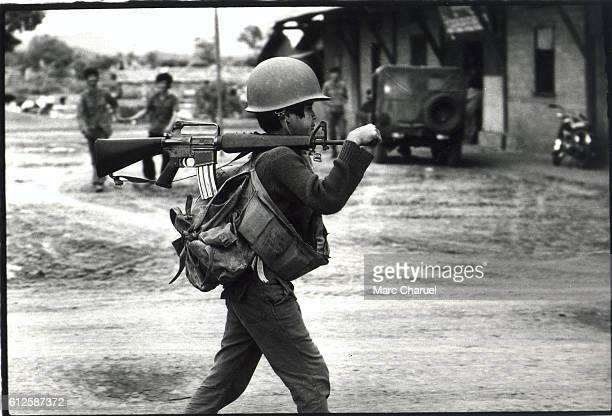 Child soldier in a military camp in Kampong Speu The latest recruits of the Lon Nol's regime at the end of the war