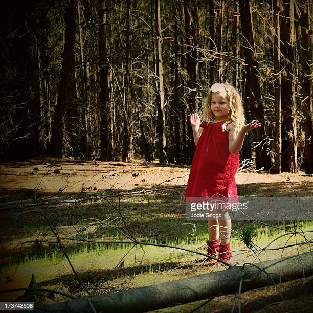 Child standing in ray of sunlight in the forest
