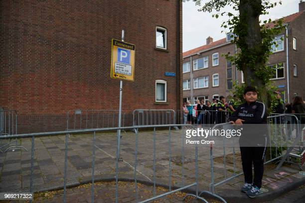 A child stands where antiislam group planned to hold a barbecue on June 7 2018 in Rotterdam NetherlandsThe antiislam group Pegida cancelled a planned...
